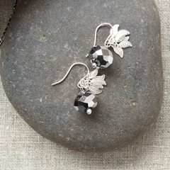 Metallic Silver Leaf Earrings