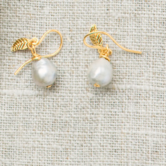 Silver Pearl & Gold Earrings