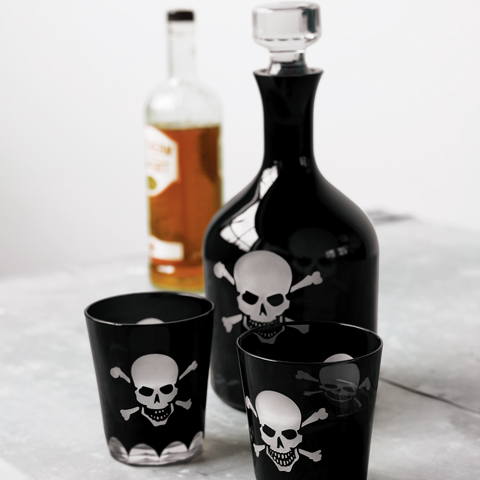 Over The Hill Skeleton Decanter & Glasses