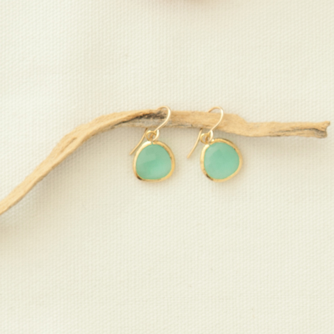 Aqua Chalcedony & Gold Earrings