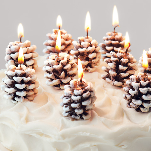 Frosted Pinecone Candles