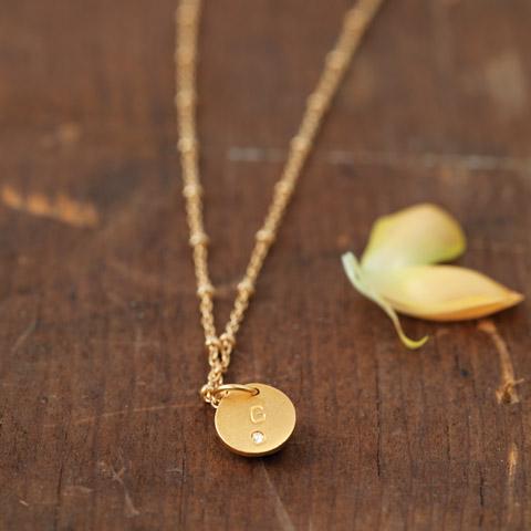 Petite Vermillion & Diamond Initial Necklace