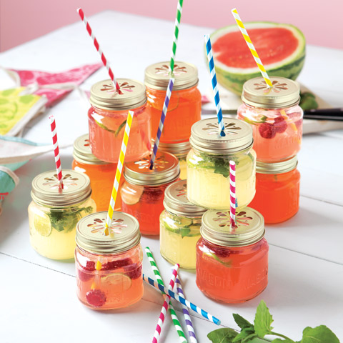 Stripey Straw Mason Tumblers