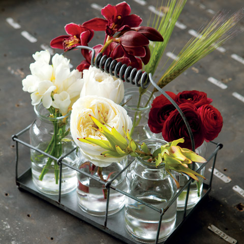 Milk Bottle Vases Caddy