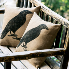 Raven Burlap Pillow