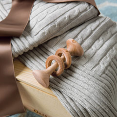 Natural Cotton Blanket & Wooden Rattle