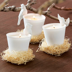 Set of 3 Porcelain Bird Candles