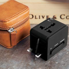 Jet Setter Travel Adapter & Leather Case