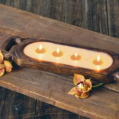Sienna Wood Candle Trough
