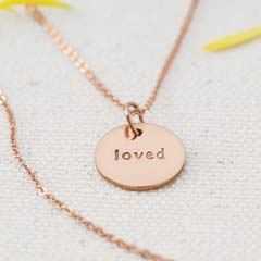 "Rose Gold ""Loved"" Circle Necklace"
