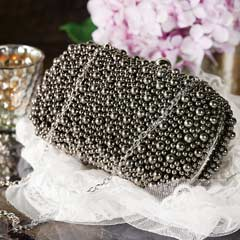 Pewter Beaded Evening Clutch
