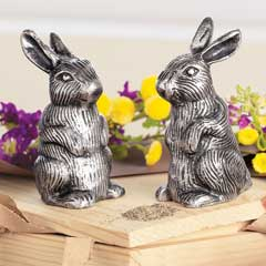 Pewter Rabbit Salt & Pepper Shakers