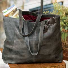 Cassandra Grey Leather Tote