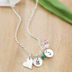 Silver Heart & Charm Necklace